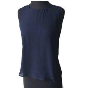 Navy Blue Open Back Blouse - Medium